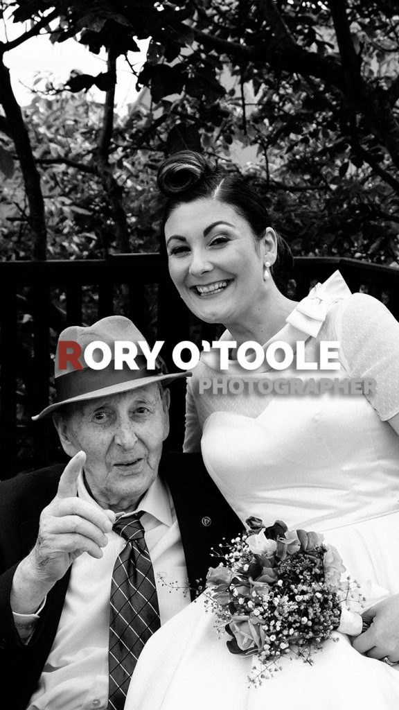 Rockabilly bride and her grandfather