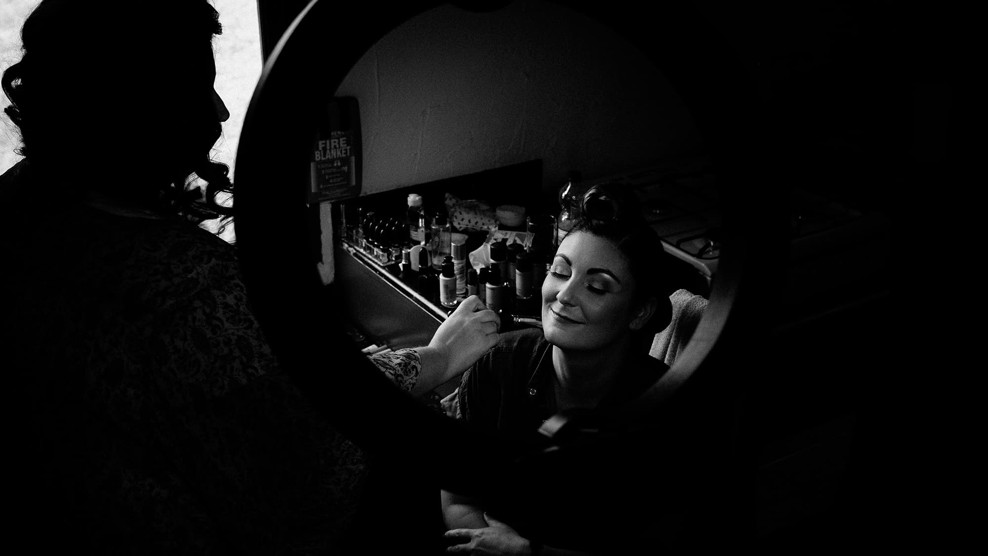 rockabilly bride and makeup artist