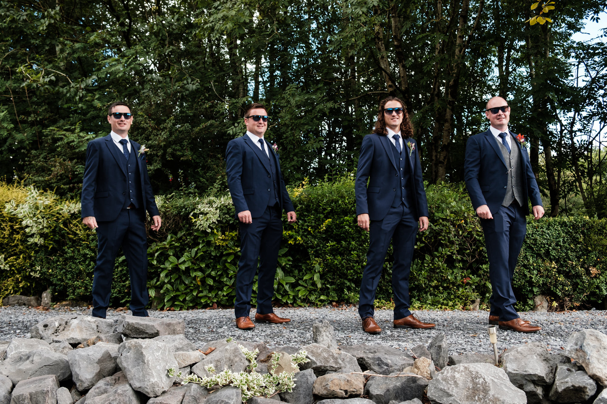 groom and groomsmen in shades