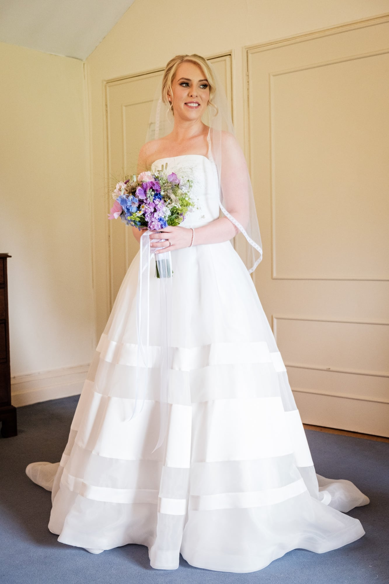 Irish Bride in wedding dress in Rathsallagh House